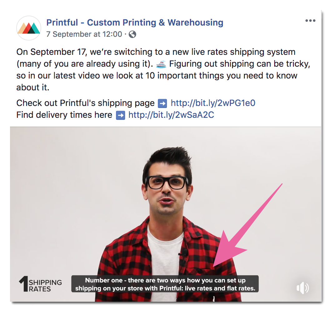 Printful subbed video on facebook