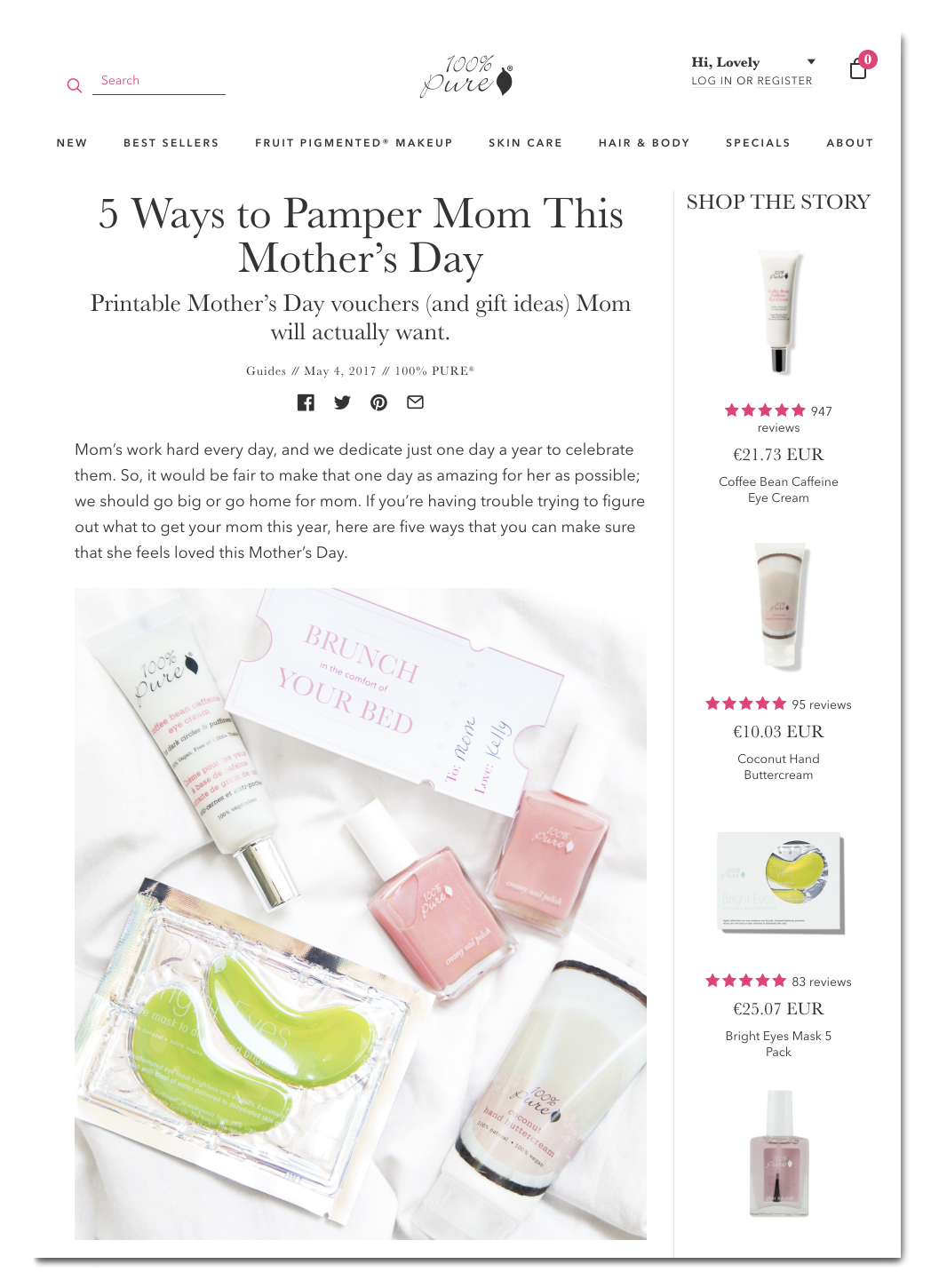 mothers day blog content 100pure