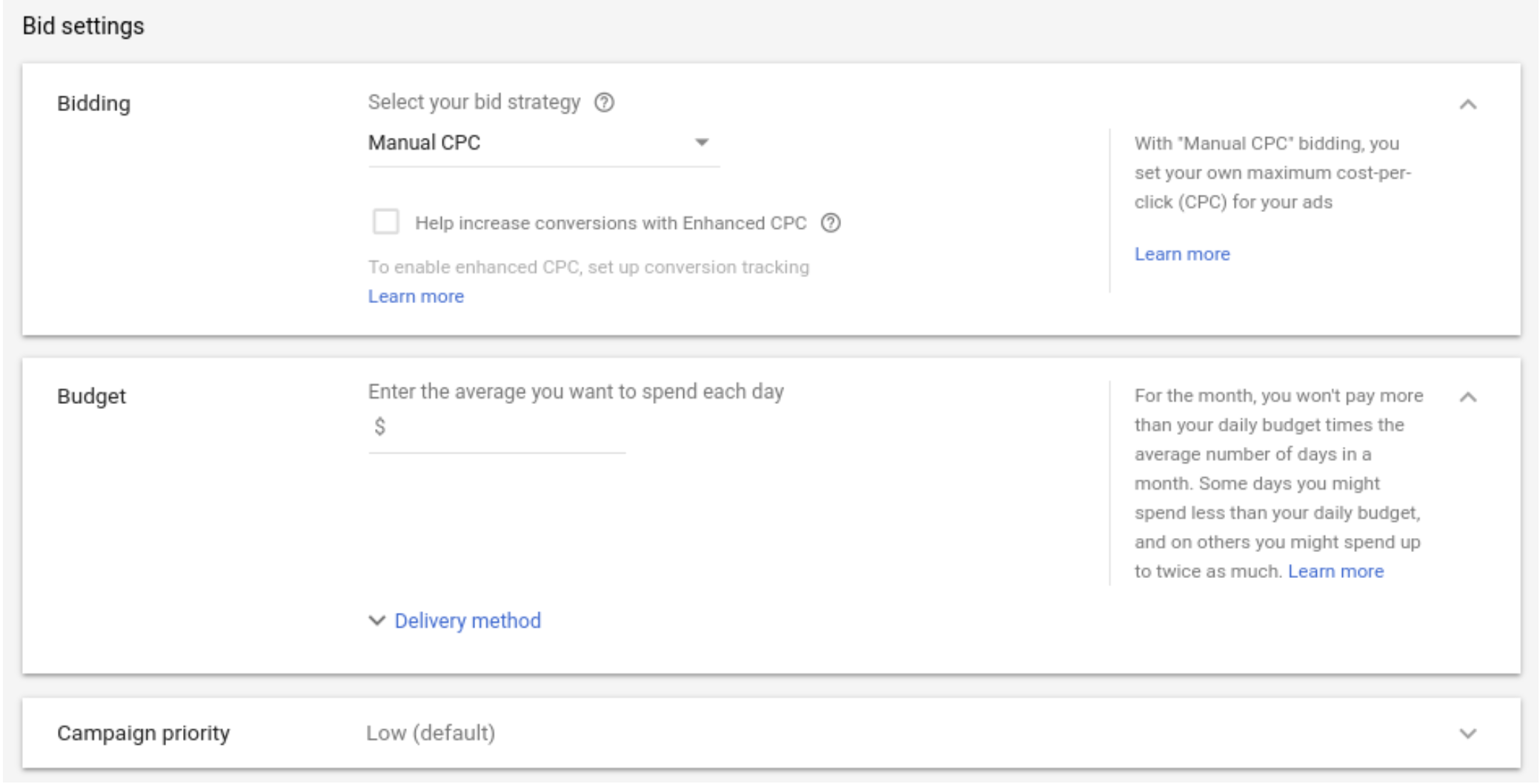 Google Shopping Ads Bid Settings