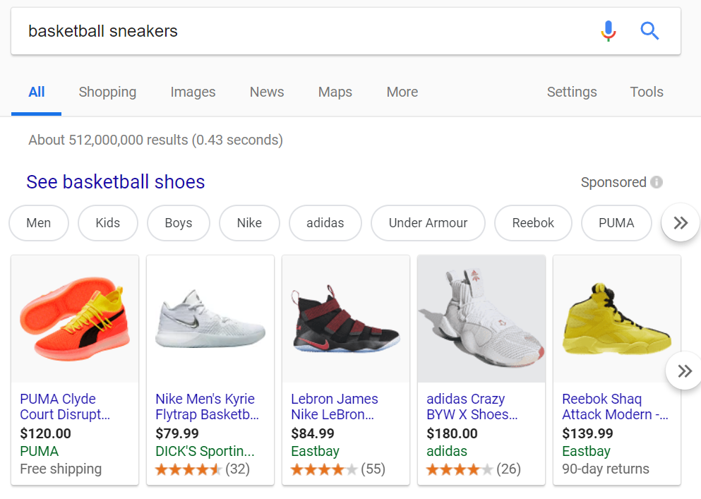 Google Shopping Sponsored Ad Example