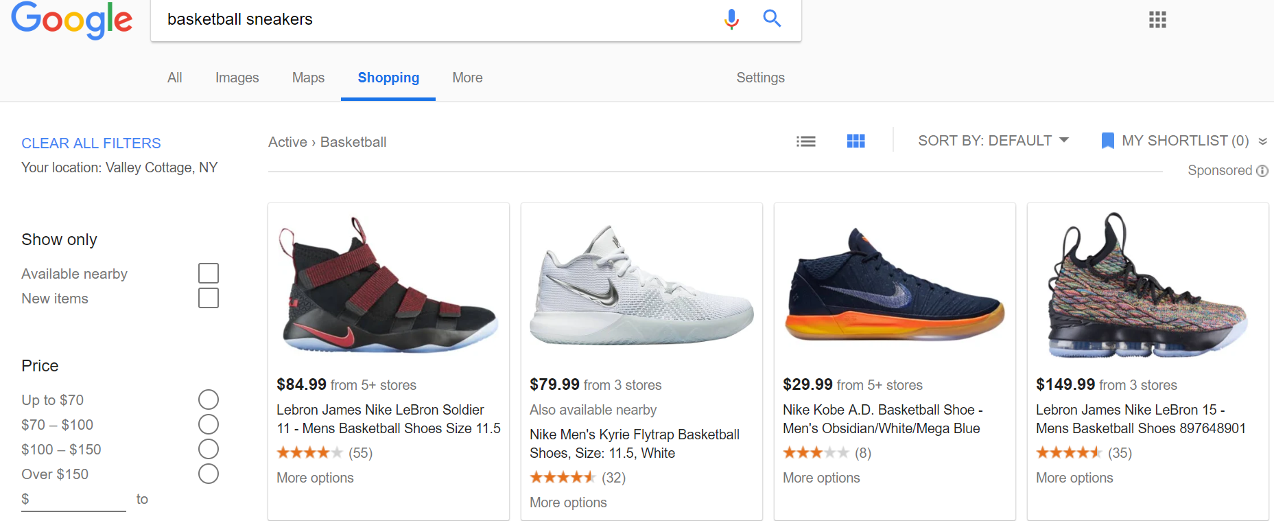 Google Shopping Tab Example