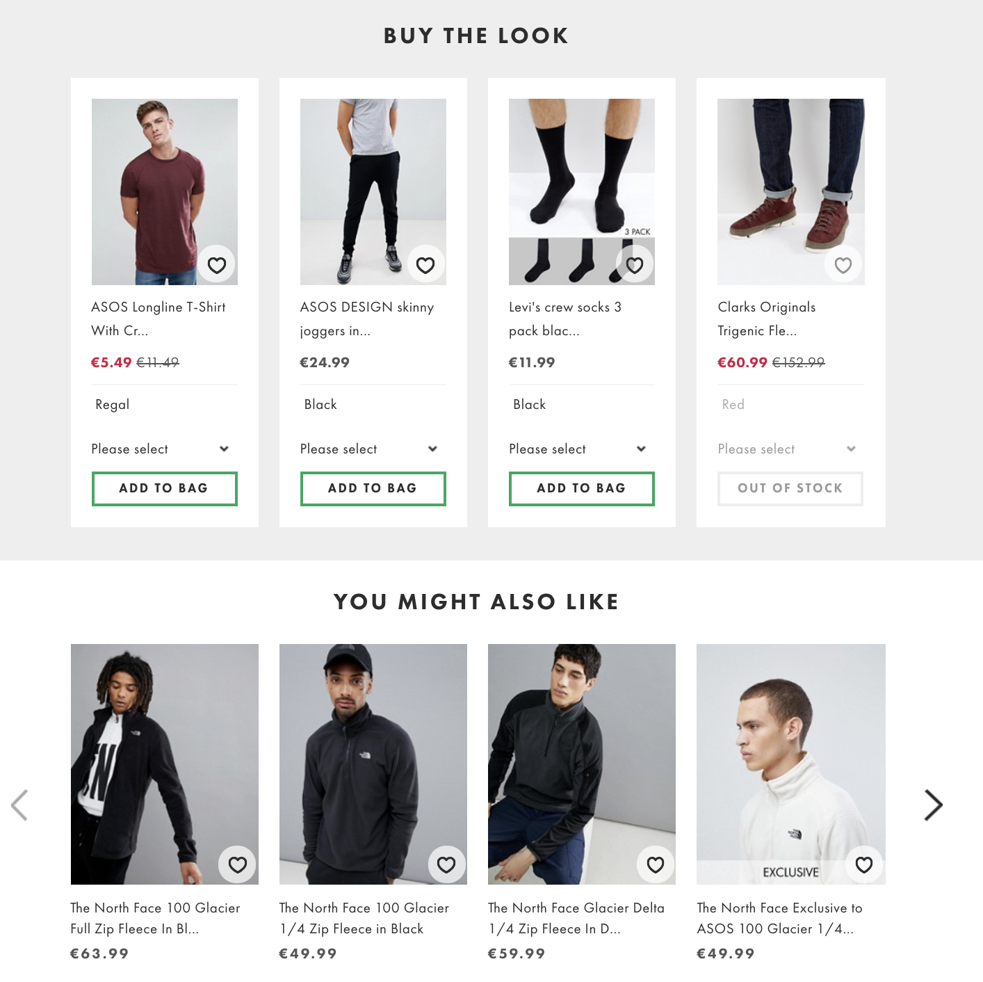 ASOS cross selling example