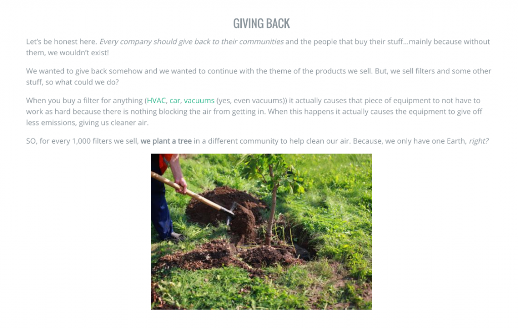 about us page example giving back