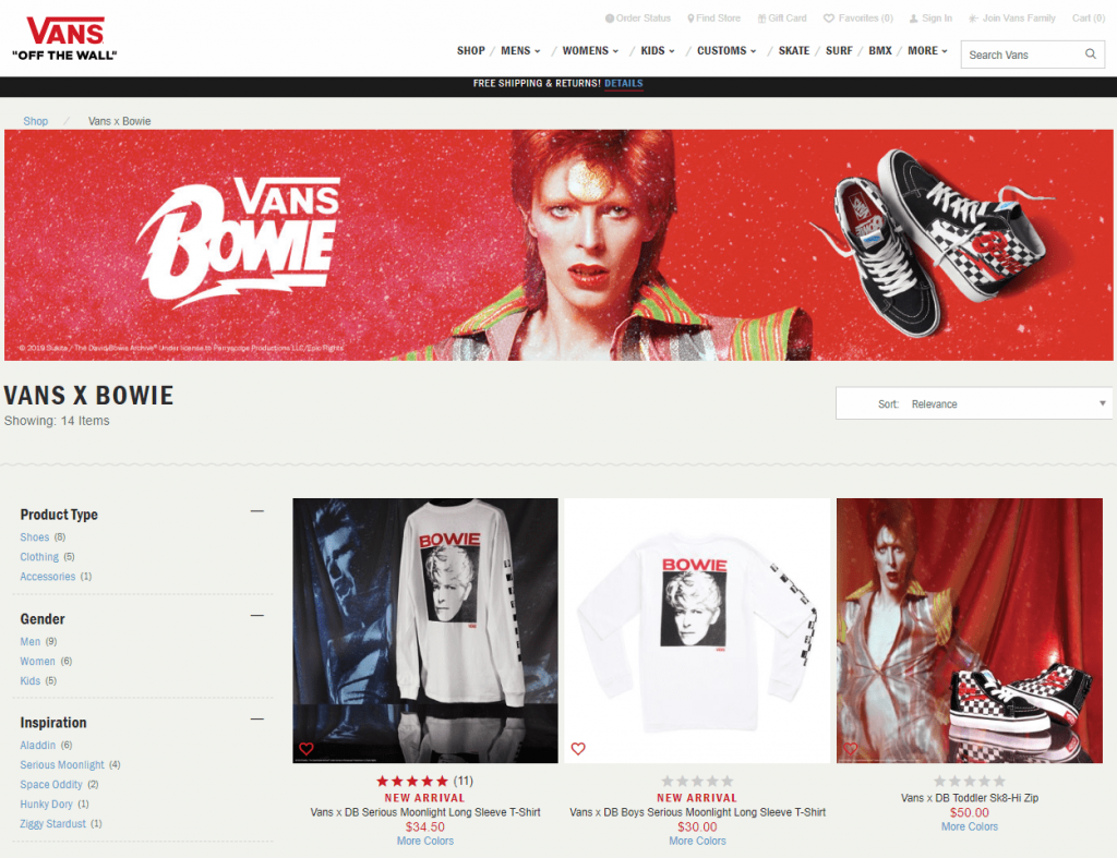 Vans x Bowie activewear shoe collection