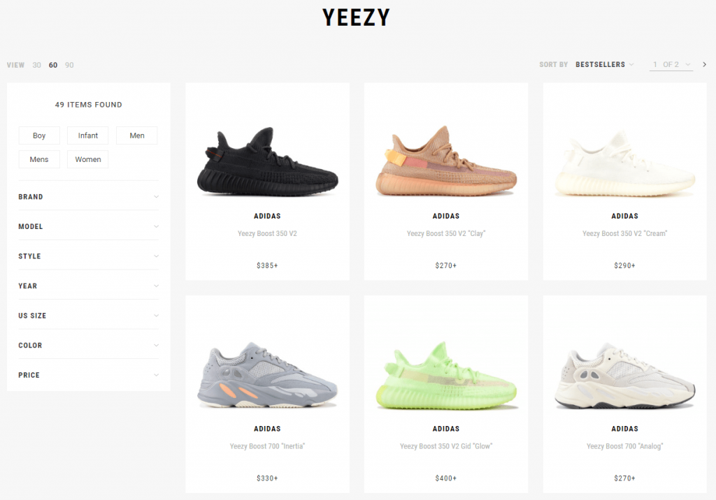 Adidas x Kanye West activewear shoe collection