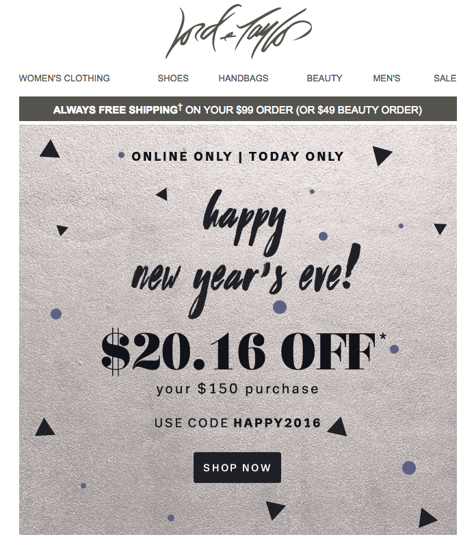 Happy New Year holiday email campaign by Lord & Taylor